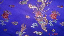 Blue Chinese Satin Dress Fabric Dragon Print 112cm Wide SOLD PER METRE