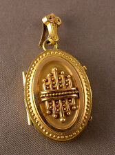 w/ Lock of Hair inside as is Antique Victorian Gold Filled Ornate Oval Locket