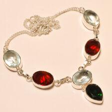 "Lovely ! Chrome Diopside Garnet Quartz Silver Plated Necklace 17""18""(Ab-3)"