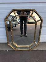 """Vintage Faux Bamboo Gold Octagon Wall Mirror Hollywood Regency 25""""x32"""""""