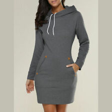 UK Womens Ladies Hooded Long Sleeve Pullover Mini Dress Winter Top Size 8-24