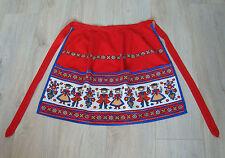 Vintage German Red Kitchen Cotton Half Apron – well decorated