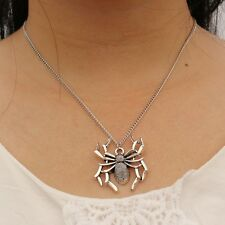 Antique Silver Plated Spider Pendant Collar Chain Unisex Necklace Punk Jewelry