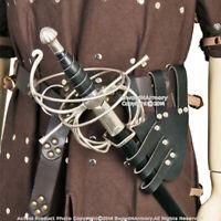 Medieval Renaissance Frog Black Genuine Leather Rapier Sword Belt Holder LARP