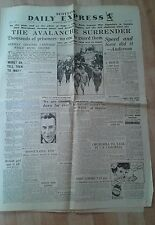 Scottish DAILY EXPRESS NEWSPAPER WW2. May 14th 1943.Avalanche surrender N.Africa