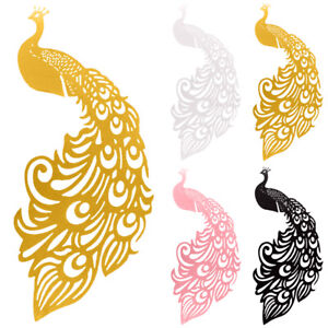 Peacock Wedding Party Name Place Cards Wine Glass Laser Cut Pearlescent Card US