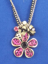 Betsey Johnson Safari Acrylic Fuchsia Leopard Flower Crochet Charm Necklace