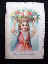 Antique Victorian Die Cut Paper Lace Edged Printed New Year Greeting Card - Girl
