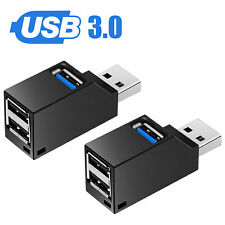 2pack 3 Port USB 3.0 Hub Portable High Speed Splitter Box For PC Notebook Laptop