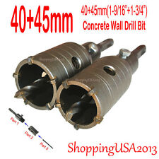 40mm+45mm Concrete Drill Bits Hole Saw Cutting Tool Set Brick Cement Stone Wall@