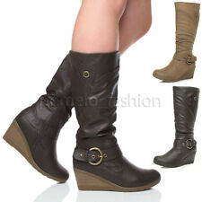 Women's Synthetic Leather Mid-Calf Wedge Boots