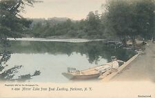 HERKIMER NY – Hand Colored Postcard – Mirror Lake from Boat Landing - udb
