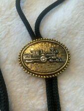 Vintage Bolo Tie Metal Slide Necktie HEAVY METAL TRAIN with Black Cord