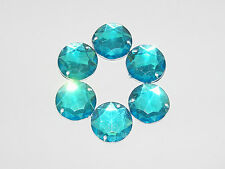 Strass scrapbooking a coudre★LOT DE 5- 1,5cm(15mm) - Bleu turquoise rond ★Neuf