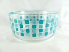 Pyrex Turquoise Clear Glass Bowl, 7201, atomic, 1qt, mixing, storage, square dot