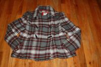 OLD NAVY women's RED & GRAY PLAID WOOL BLEND PEA COAT Jacket Size M