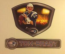 "Tom Brady FATHEAD Official Player Shield 23""x19"" +Name Sign 30""x6.5"" Patriots"