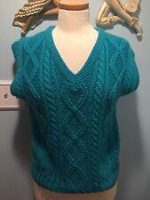 Vintage 80's Teal Vest Acrylic Sweater M Lazarus