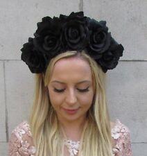 Large Black Rose Flower Headband Sugar Skull Hair Crown Big Festival Boho 6036