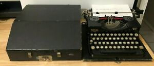 Antique 1928 ROYAL Portable Model P Typewriter Black - Original Wood Case
