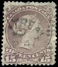 Canada #29b used F 1868 Queen Victoria 15c red lilac Large Queen CDS CV$80.00
