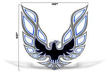 "42"" X 42"" Firebird Hood Graphic Decal Sticker For Pontiac Trans Am BLUE GREY"