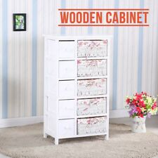 Shabby Chic White Wooden Bedsides Cabinet Table with 5 Drawers & Wicker Baskets