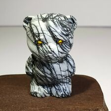Natural black network mineral raw stone, hand carving,Doll bear