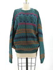 Vtg 90's Knit Green Striped Sweater Jumper Chunky Oversize SZ L Cotton USA Made