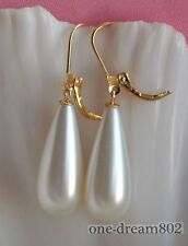 25mm drip white shell pearl dangle earring
