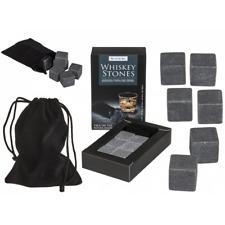 6er Pack Whiskey Stones Kühlsteine mit schwarzem Säckchen Speckstein Würfel