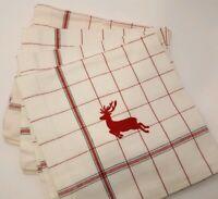 Williams-Sonoma 4 Reindeer Red/Green Plaid Christmas Napkins Tartan