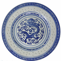 """Vintage Rice Grain White Blue Dragon 10"""" Round Plate Made In China"""