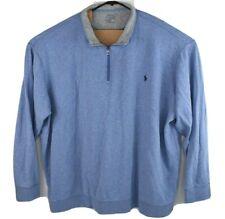 Polo Ralph Lauren Mens Performance Lt Purple 1/4 Zip Pullover Sweater Size 4LT