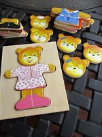Melissa & Doug Bear Toy 18 Wooden Piece Dress up in It's Own Wood Dove Tail Box