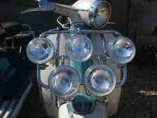 Vespa or Lambretta Front Folding Carrier Rack With Clear Spot Lights MOD