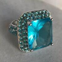 Park Lane Splash Ring Size 6 7 Hamptons Blue SilverTone Aquamarine Color Amazing