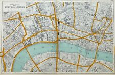 "Central London , 1912 - Original Antique Map, 9"" a mile Scale."
