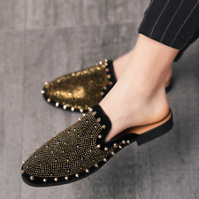 Men black lazy slippers summer large half shoes men's faux leather casual shoes