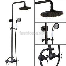 Black Oil Rubbed Brass Bathroom Rain Shower Faucet Set Mixer Tap frs494
