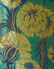 Vintage Exotic Floral Silk Brocade Jacquard Fabric~Teal Blue Chartreuse Yellow