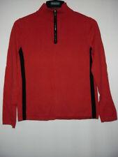 Women's JONES NEW YORK SPORT PETITE Red Black 8''Zip Pullover Sweater PL