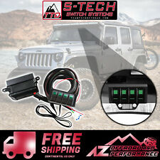 S-Tech 4 Switch System with Relay Center - Green Dual LED 09-18 Jeep Wrangler JK