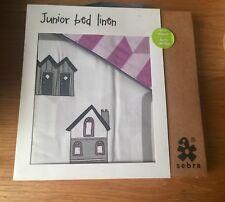 SEBRA Junior Bed Linen 'Village' 100% Organic Duvet & Pillowcase Set Violet BN