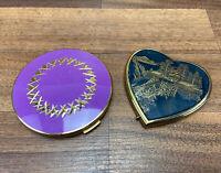 Green Stratton Powder Compact Vintage Make Up Mirror + Lew Light Mirror