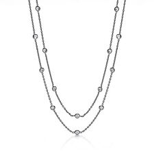J JAZ Giovanna Shirelle Ruthenium Plated Silver Cubic Zirconia Chain Necklace