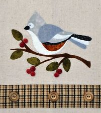 Tufted Titmouse ~ Wooden Bear Quilt Designs ~ Applique Pattern ~ bird tea towel