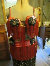 Professional Belly dance costume sizzling Red Hand beaded Egyptian bra belt