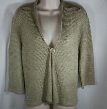 August Silk Sweater Size L Loose Knit 1 Button Rolled Collar 3/4 Length Sleeve