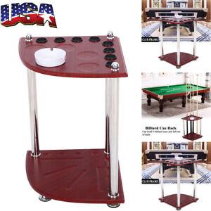 Wood Pool Cue Rack Stick Holder Wall Mount Holder Billiard Table Accessories US